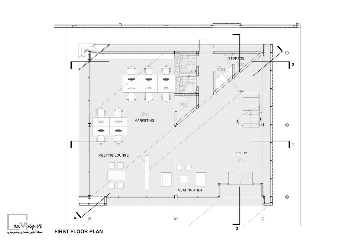 طراحی دفتر اداری KL - طبقه اول